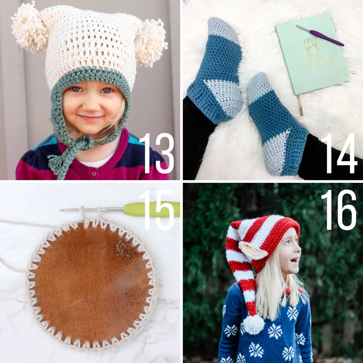 Easy crochet patterns for Christmas including an Santa's elf hat, leather crochet coasters and a pom pom beanie.