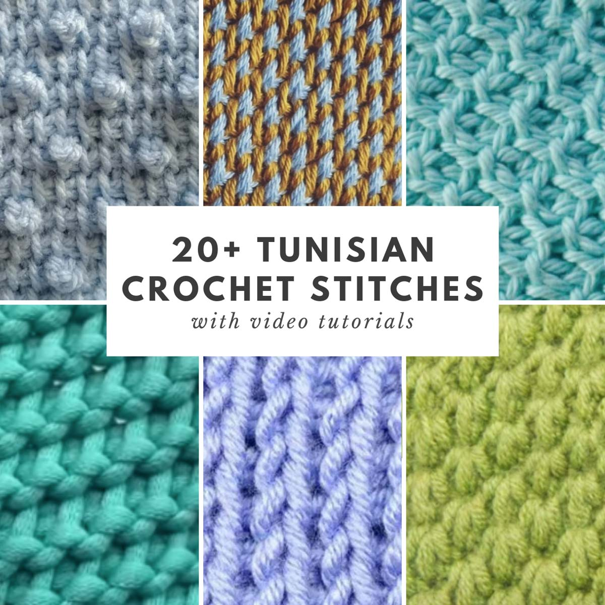 A grid of lots of beautiful Tunisian Crochet stitches that have video tutorials.
