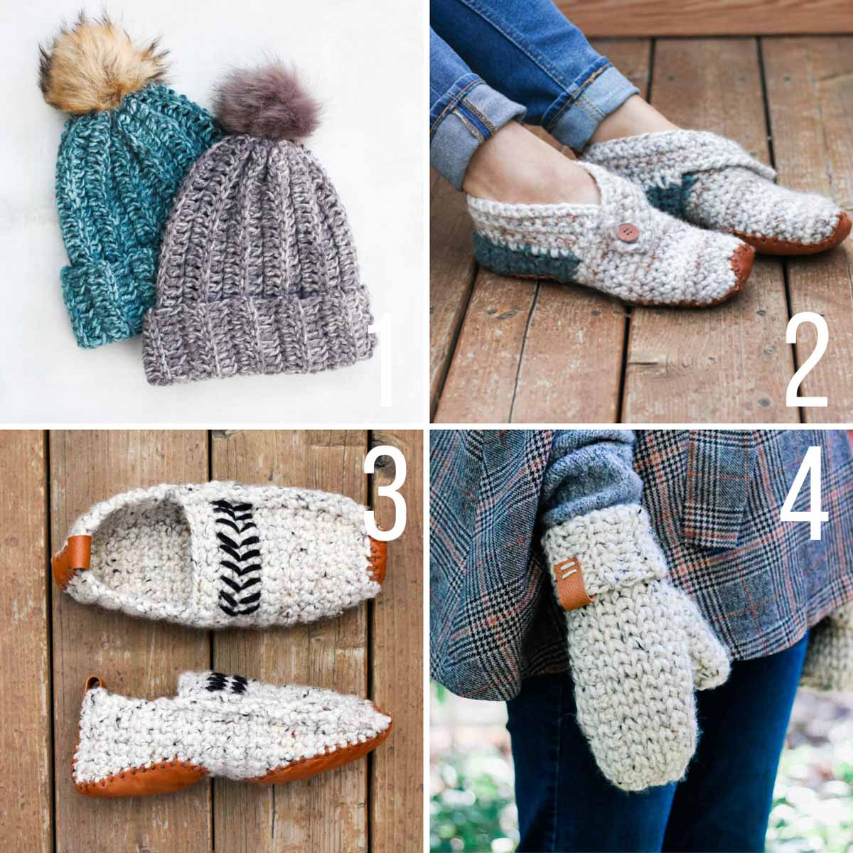 Four fast crochet projects including slippers for men, slippers for women, crochet mittens and a easy crochet hat.