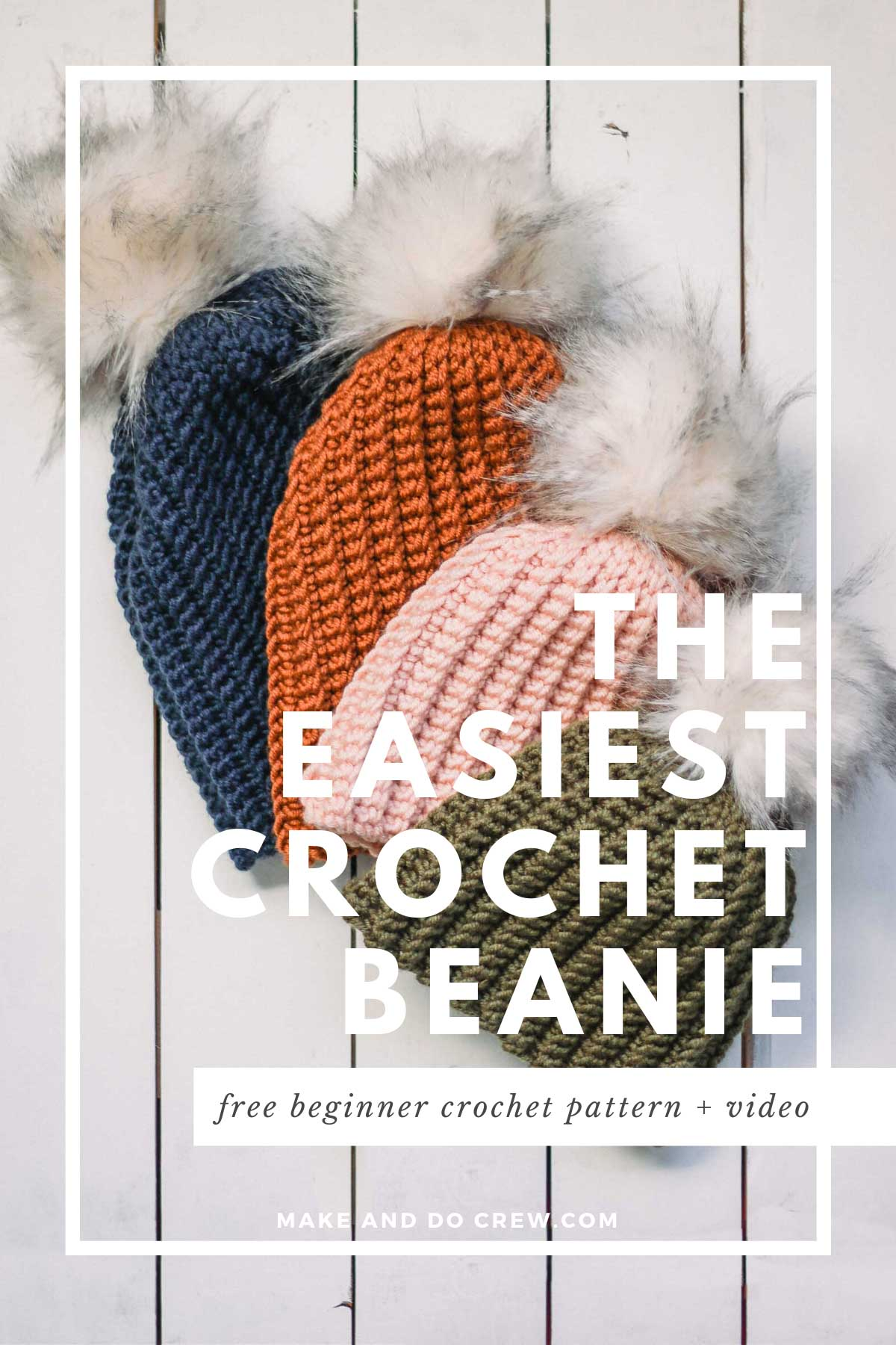 Stack of four modern crochet hats in baby through adult sizes, each with a fur pom pom. Hats made with Lion Brand Color Made Easy.