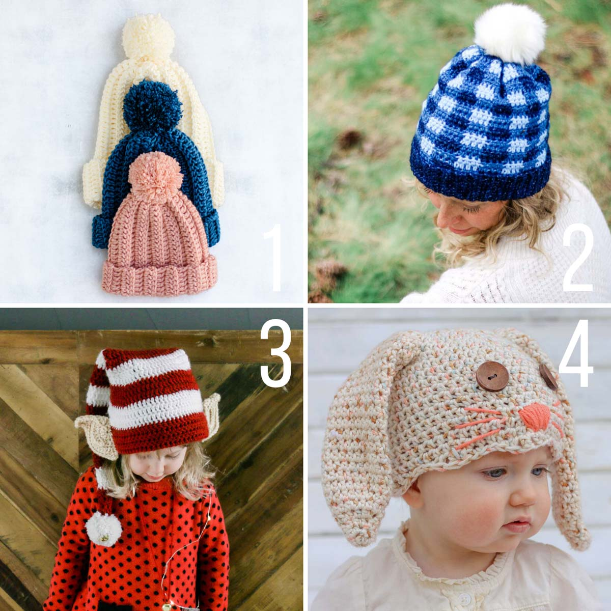 Four free crochet hat patterns for babies, kids and adults.