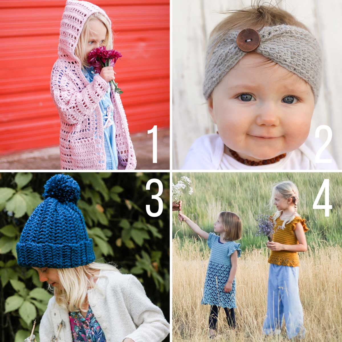 Free crochet patterns for babies and kids including a hexagon cardigan, an easy knit-look headband and gorgeous crochet dresses.