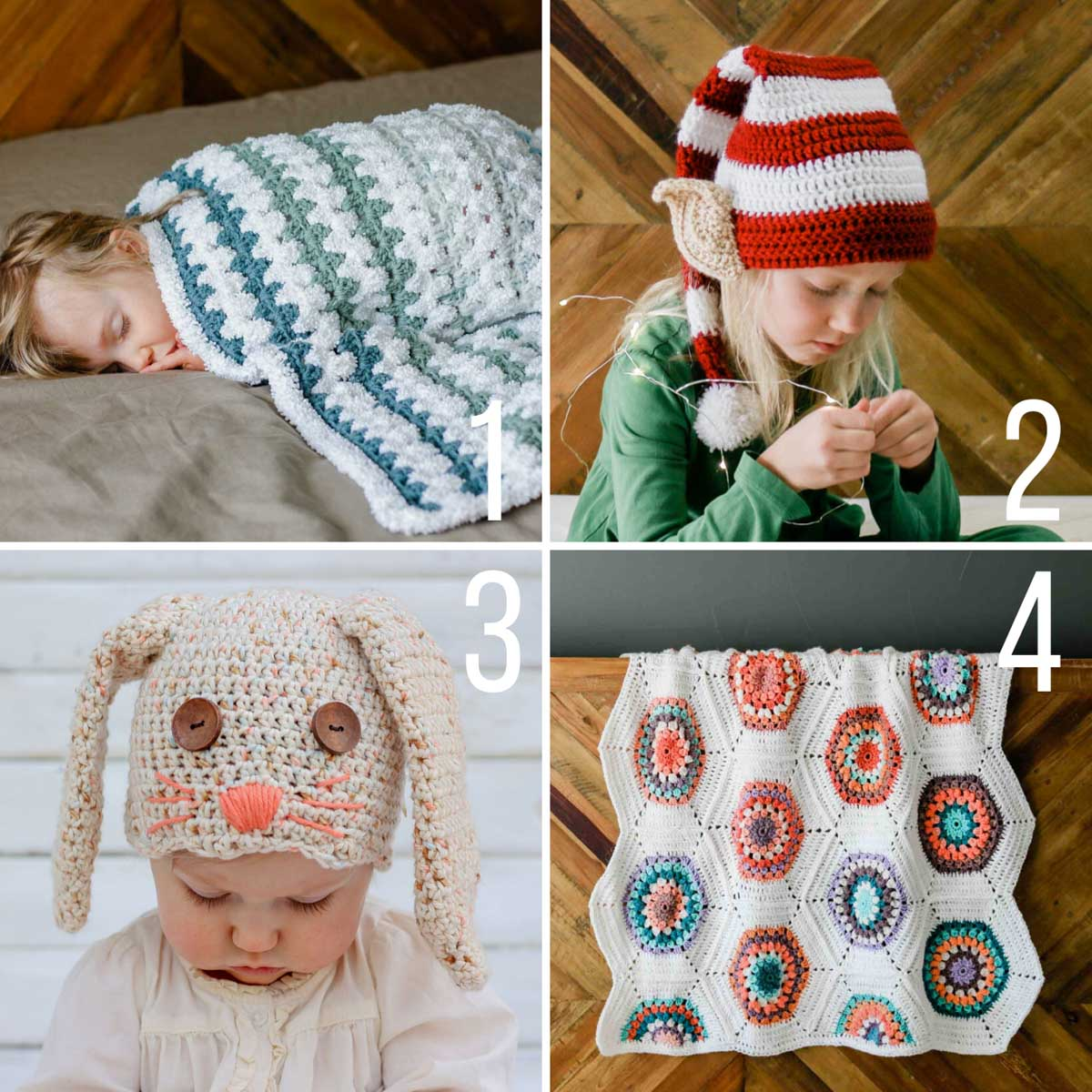 Free crochet patterns for babies and kids including a santa hat, easy crochet baby blanket, heirloom crochet baby blanket and an Easter bunny hat.