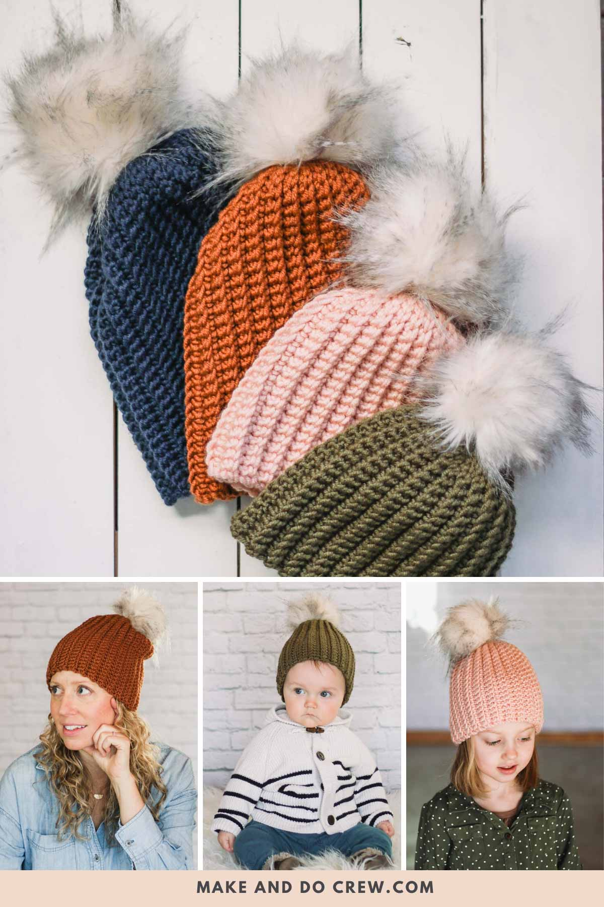 Crochet hats on a woman, child and baby. Made with Lion Brand Color Made Easy yarn.