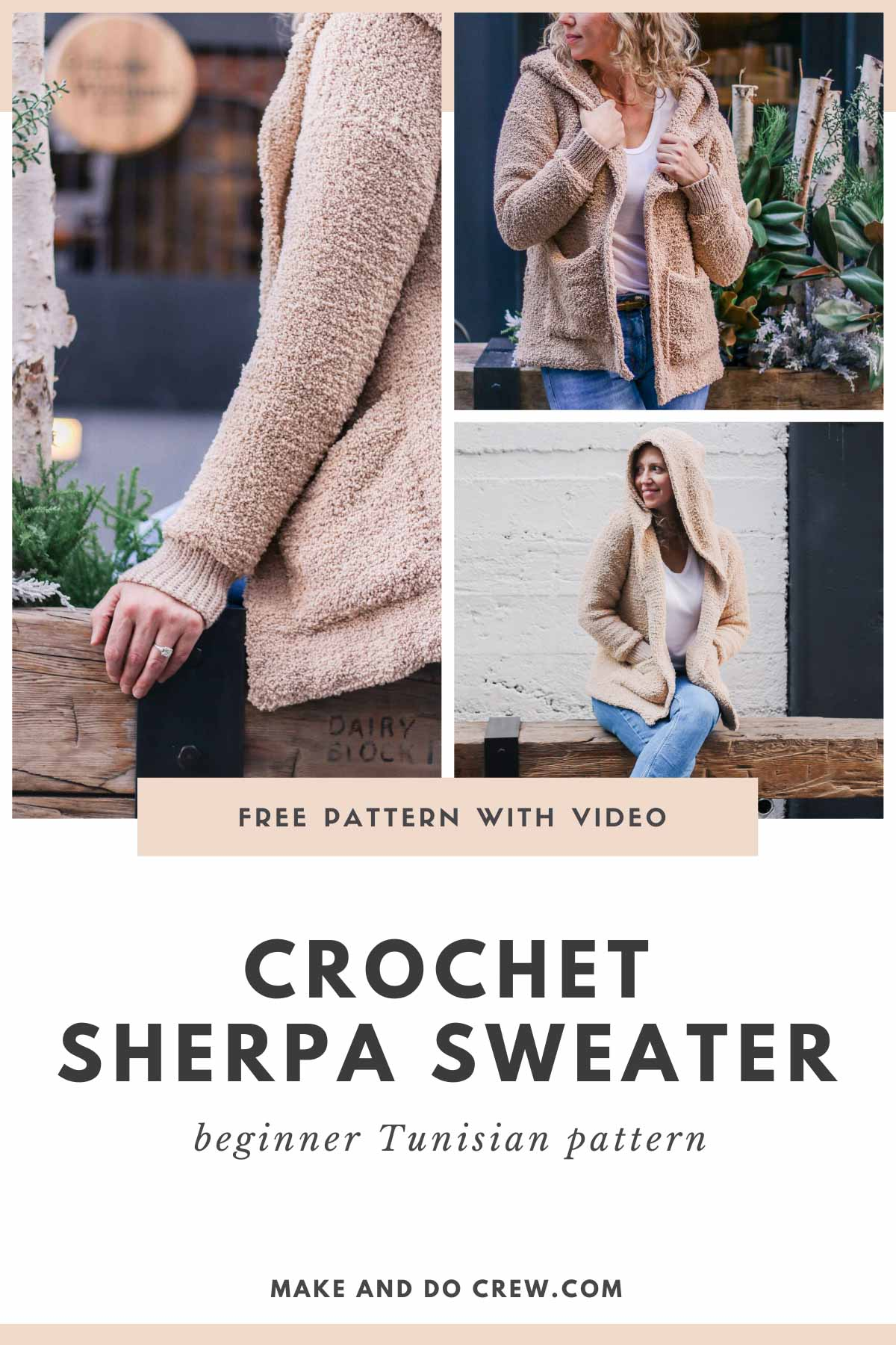 "Grid of photos of a fuzzy, sherpa crochet cardigan made with Lion Brand Baby Soft Boucle yarn in ""Tan."" Free Tunisian crochet sweater pattern."