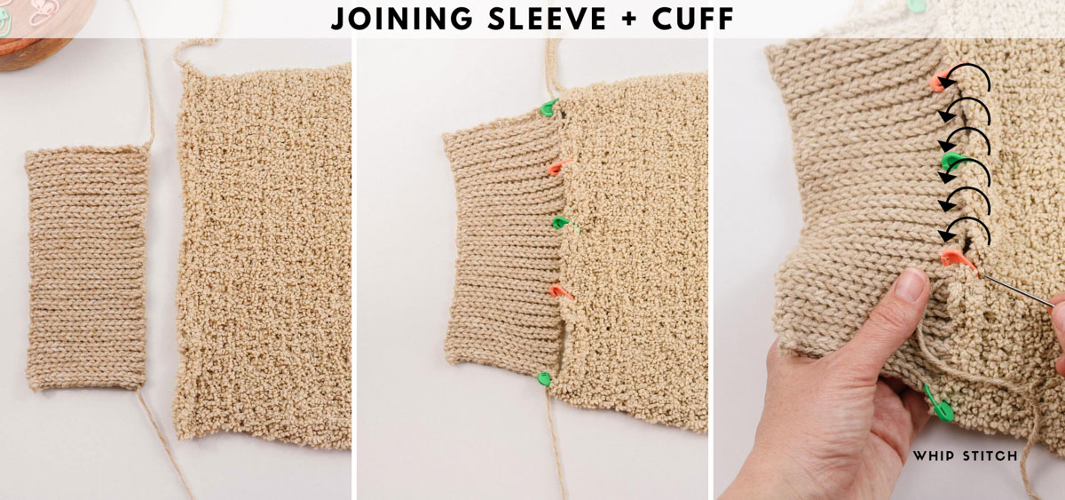 Tutorial showing how to seam crochet sweater sleeves.