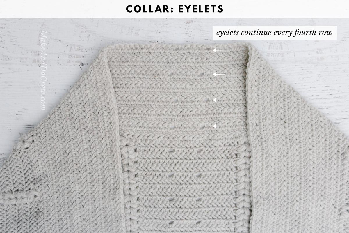 Photo tutorial showing how to crochet a cardigan with lace eyelets on the back.