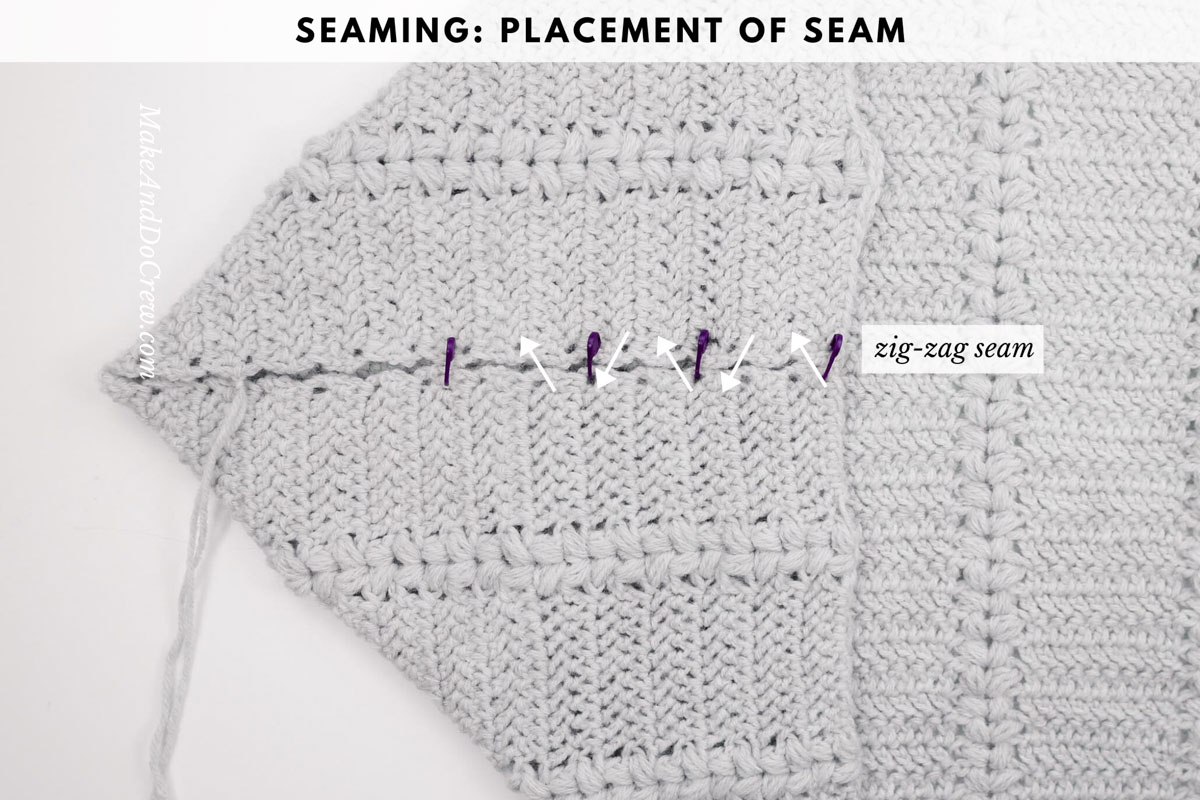 Crochet cardigan tutorial: how to seam the edge of a rectangle to form a crochet shrug.