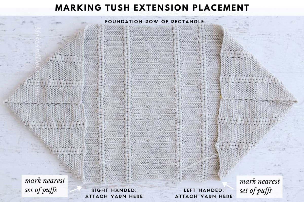 Photo tutorial showing were to mark stitches to make a crochet sweater from a rectangle.