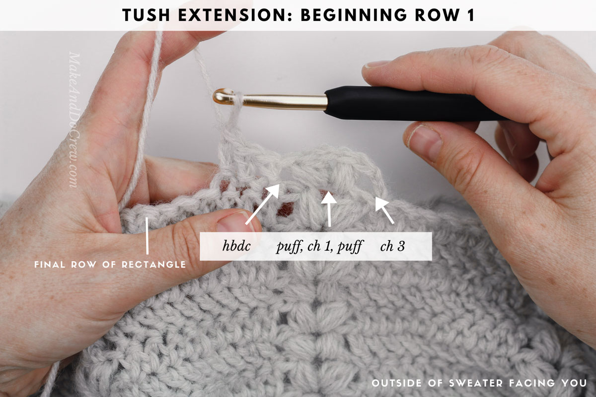 Photo tutorial showing how to crochet a puff stitch cardigan sweater from a rectangle.