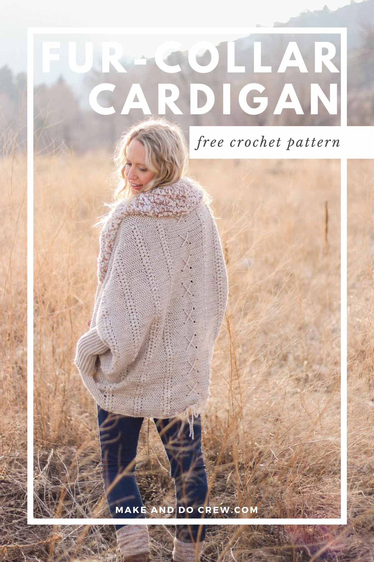 Woman standing a field of natural grasses wearing a crochet cardigan sweater with a lace rope detail running down the back.