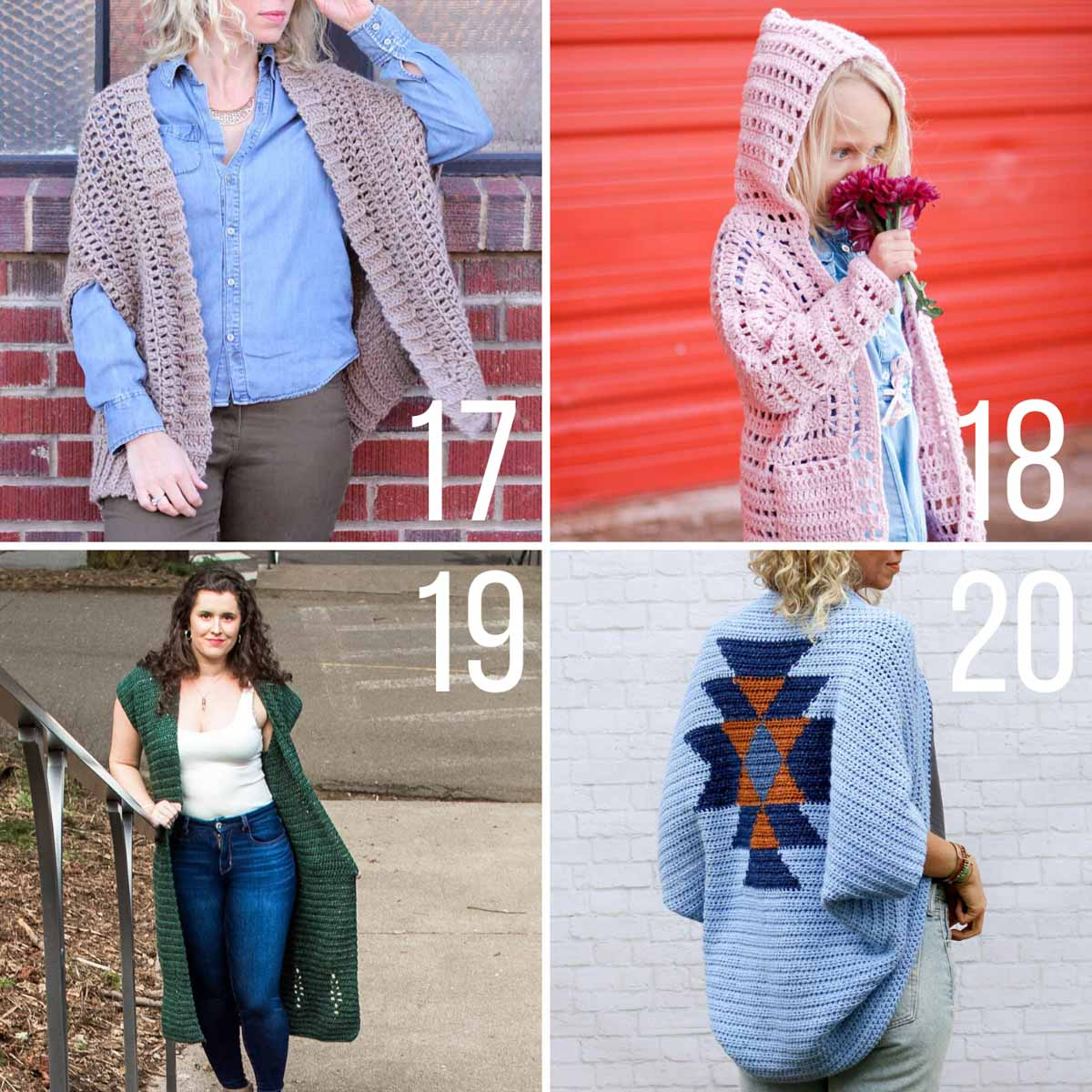 Four free crochet cardigan patterns for women and children. These patterns are all made from simple rectangle shapes.