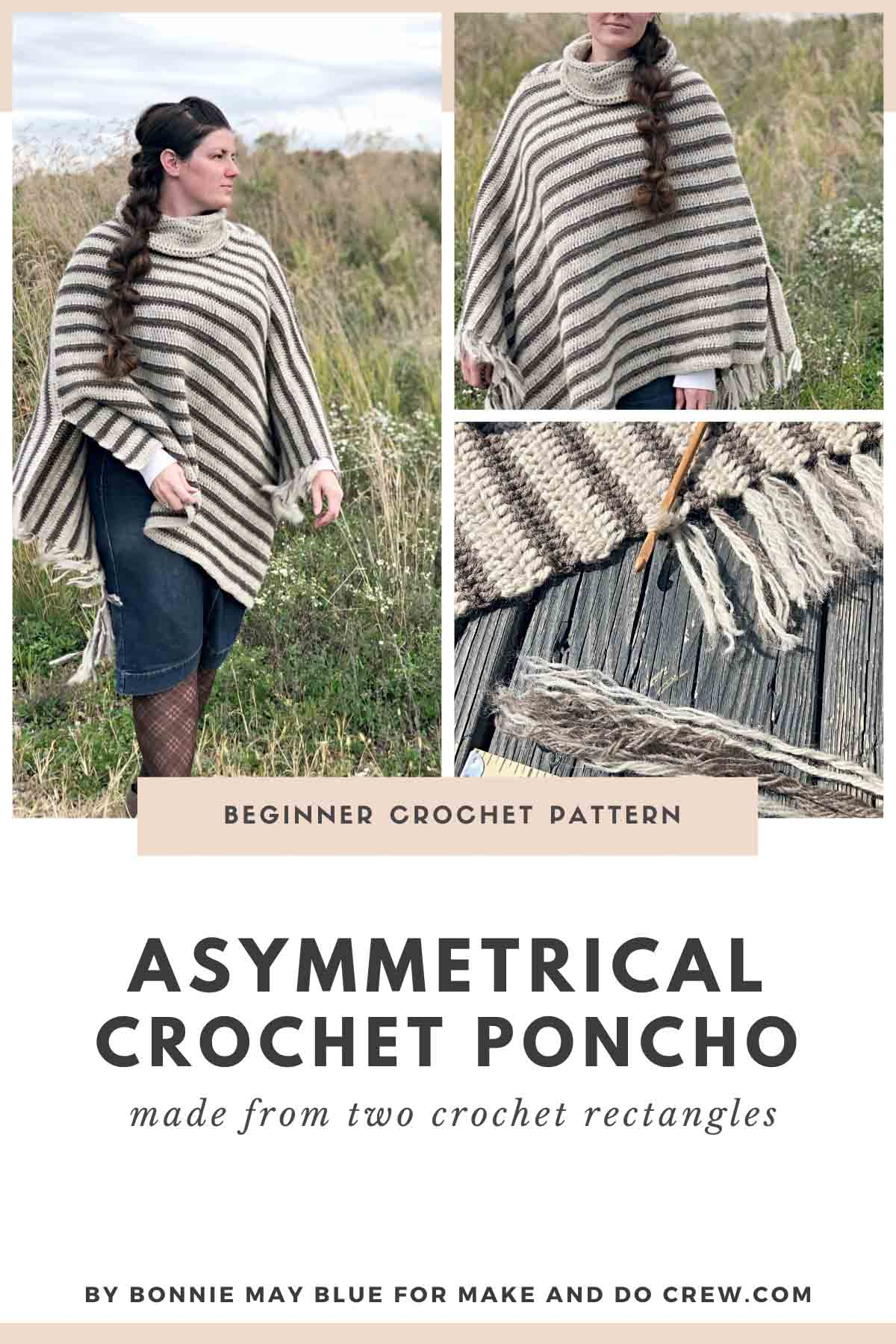 Free crochet pattern for an asymmetrical poncho with fringe.