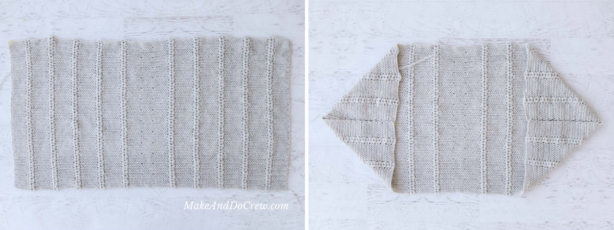 Large crochet rectangle and a large crochet rectangle folded into a shrug shape.