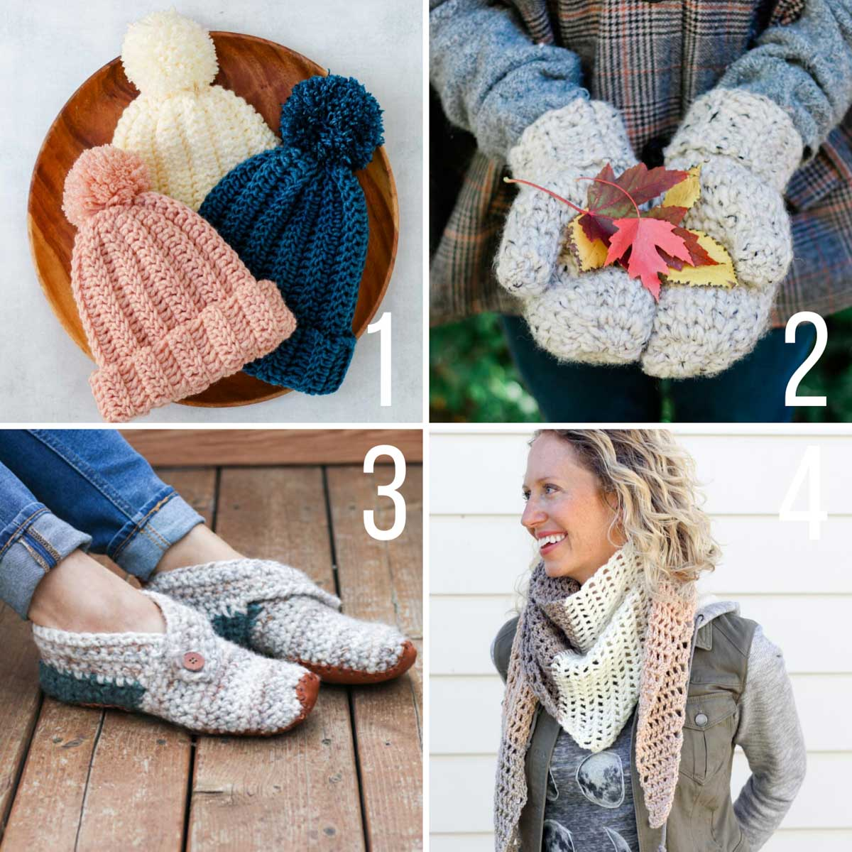 Four free crochet patterns: a beanie hat, mittens, quick slippers and a one skein scarf.