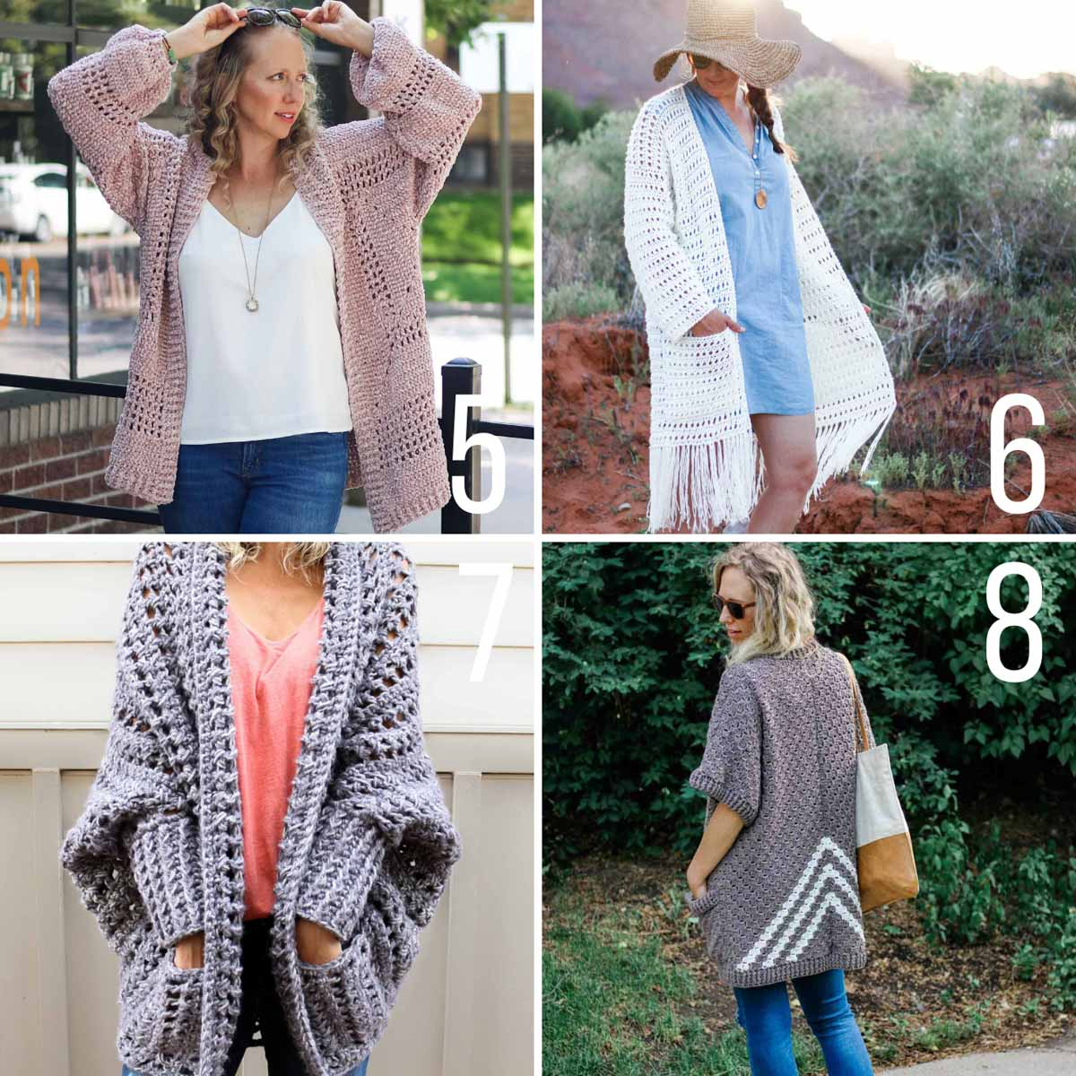 Free crochet cardigan sweater patterns with step-by-step instructions.