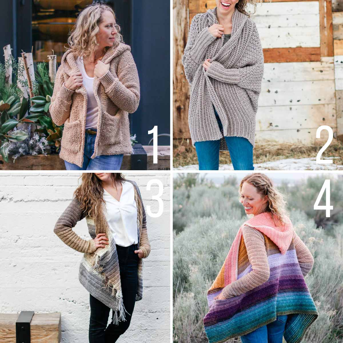 Four free patterns that teach you how to crochet a cardigan that looks modern and on-trend.