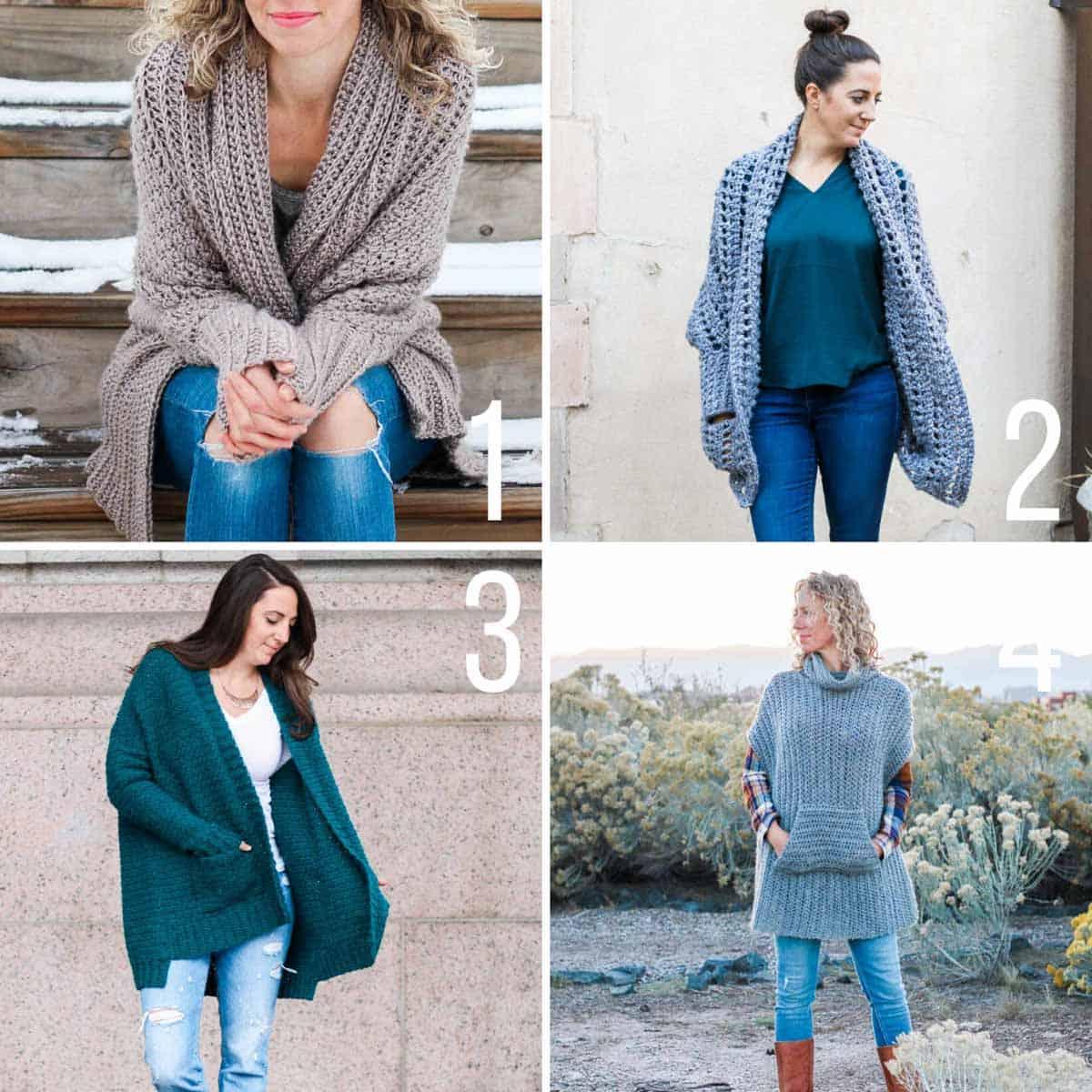 Four free crochet sweater patterns