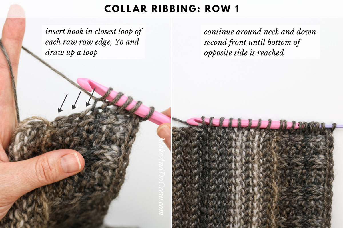 Tutorial showing how to add crochet ribbing to a crochet sweater by picking up your stitches as you go.