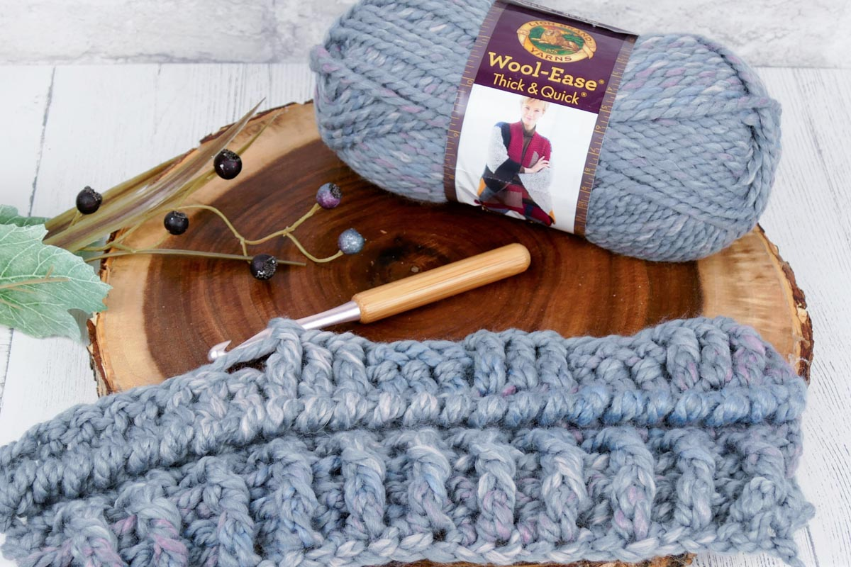 Lion Brand Wool-Ease Thick and Quick yarn in Storm Front.