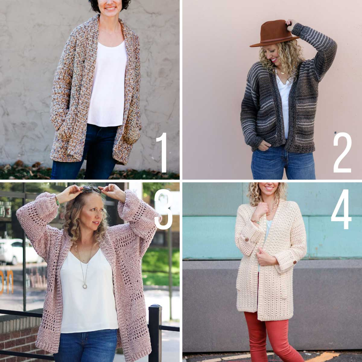 Grid of four free crochet cardigan patterns