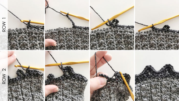 Photo tutorial on how to crochet gathers for a lightweight crochet top