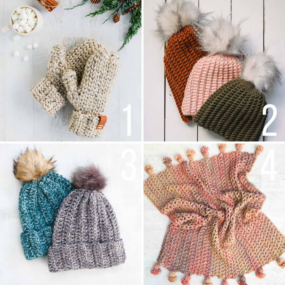 Grid of four free crochet patterns, including two very easy beanie hats, crochet mittens, and a crochet blanket with a Pom Pom border.