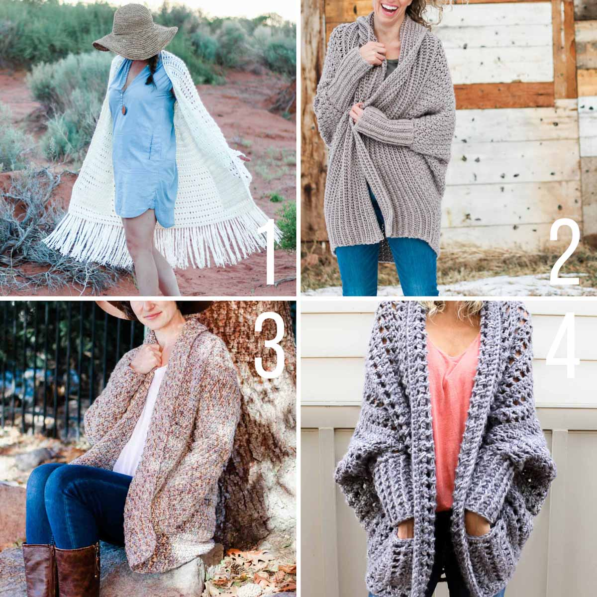 Grid of four free crochet sweater patterns. All of these sweater patterns are beginner-friendly.