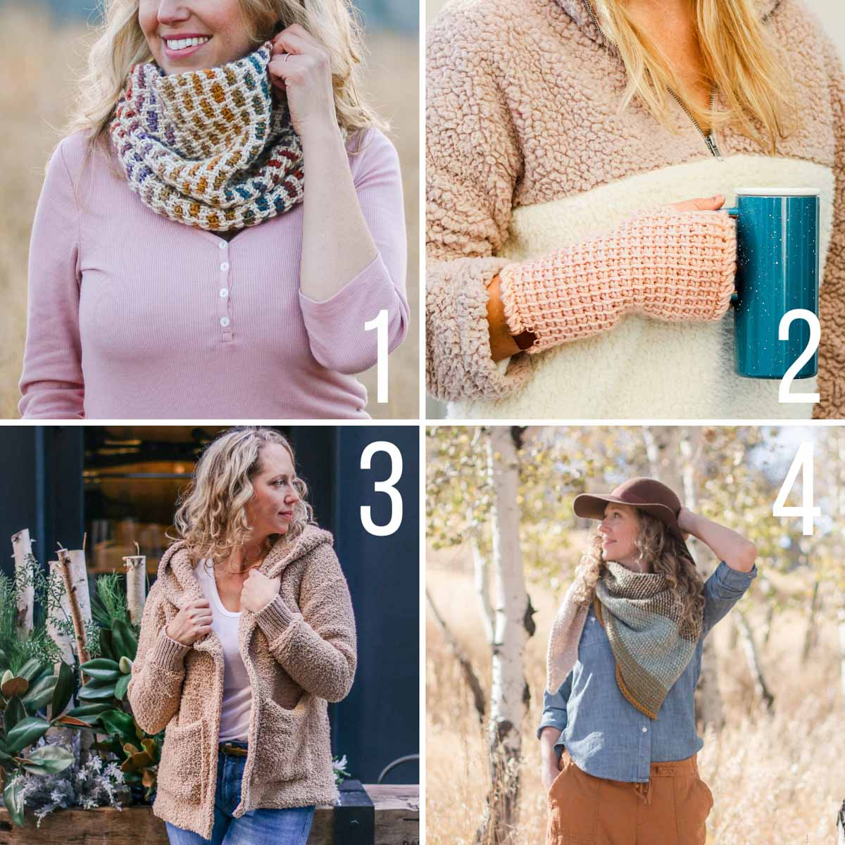 Grid of four modern Tunisian Crochet patterns - a Tunisian Crochet cowl, Tunisian Crochet mitts, a Tunisian Crochet sherpa sweater, and a reversible Tunisian Crochet wrap.
