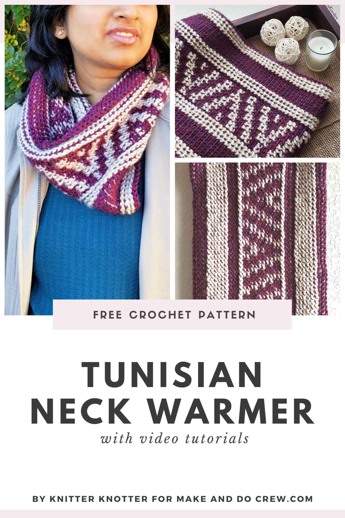 Free beginner-friendly crochet pattern for a Tunisian crochet neck warmer. Made with Lion Brand Heartland yarn. Video tutorials included.