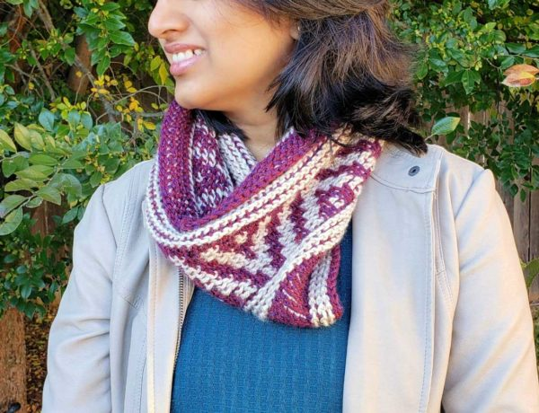 Purple and gray Tunisian crochet neck warmer. Free crochet pattern and video tutorials.