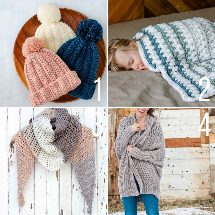 Free beginner crochet patterns for a chunky beanie, a baby blanket, a lightweight triangle scarf, and a cardigan