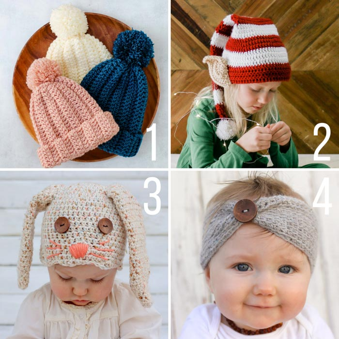 Free crochet hat and headband patterns from Make and Do Crew.
