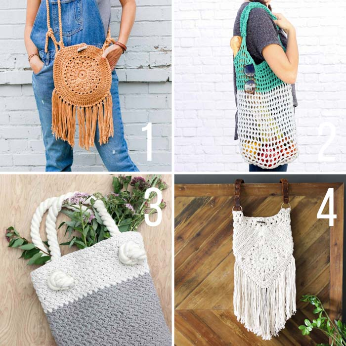 Free crochet patterns for bohemian and market style bags and purses
