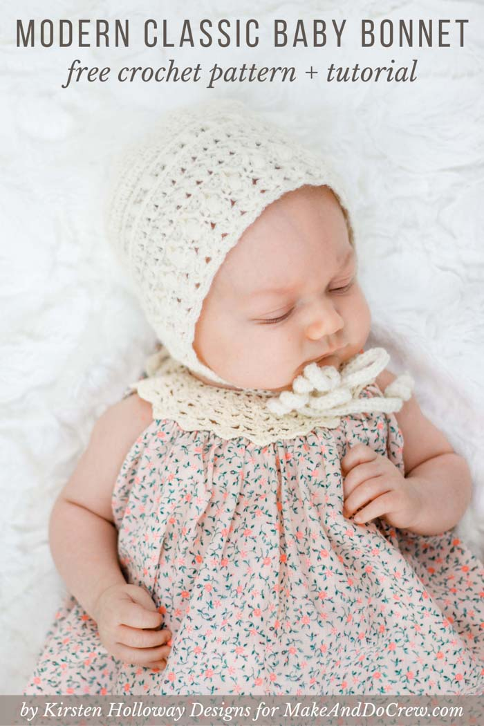 Classic Crochet Baby Bonnet Free Pattern By Kirsten Holloway