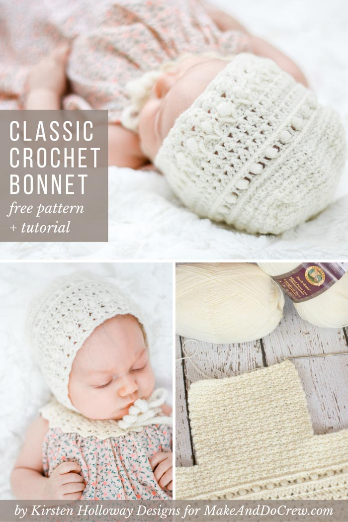 This classic lace crochet baby bonnet pattern will quickly become a family heirloom. Free gender neutral baby crochet baby hat pattern + tutorial!