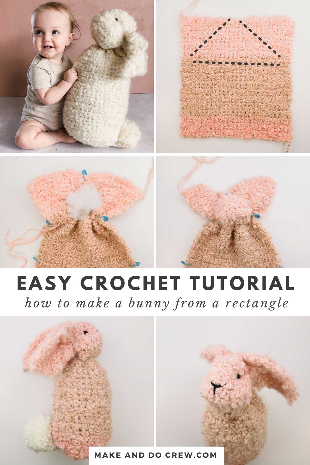 Step-by-step tutorial showing how to crochet a bunny from a square. Super easy Easter crochet rabbit pattern!