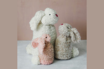 Three realistic crochet bunnies made from rectangles. Made with Lion Brand Homespun Thick & Quick yarn.