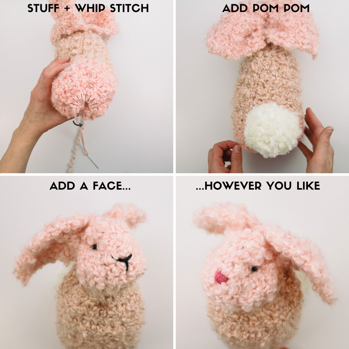 Step-by-step tutorial showing how to crochet a bunny from a rectangle. Easy Easter crochet bunny pattern that's great for beginners.