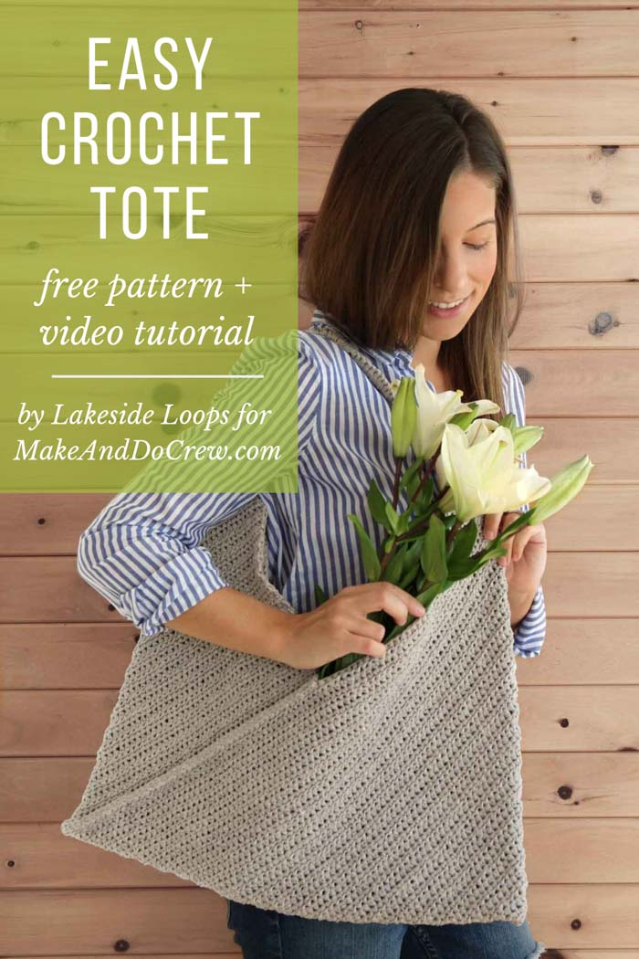 Free pattern and tutorial for an easy crochet market tote bag