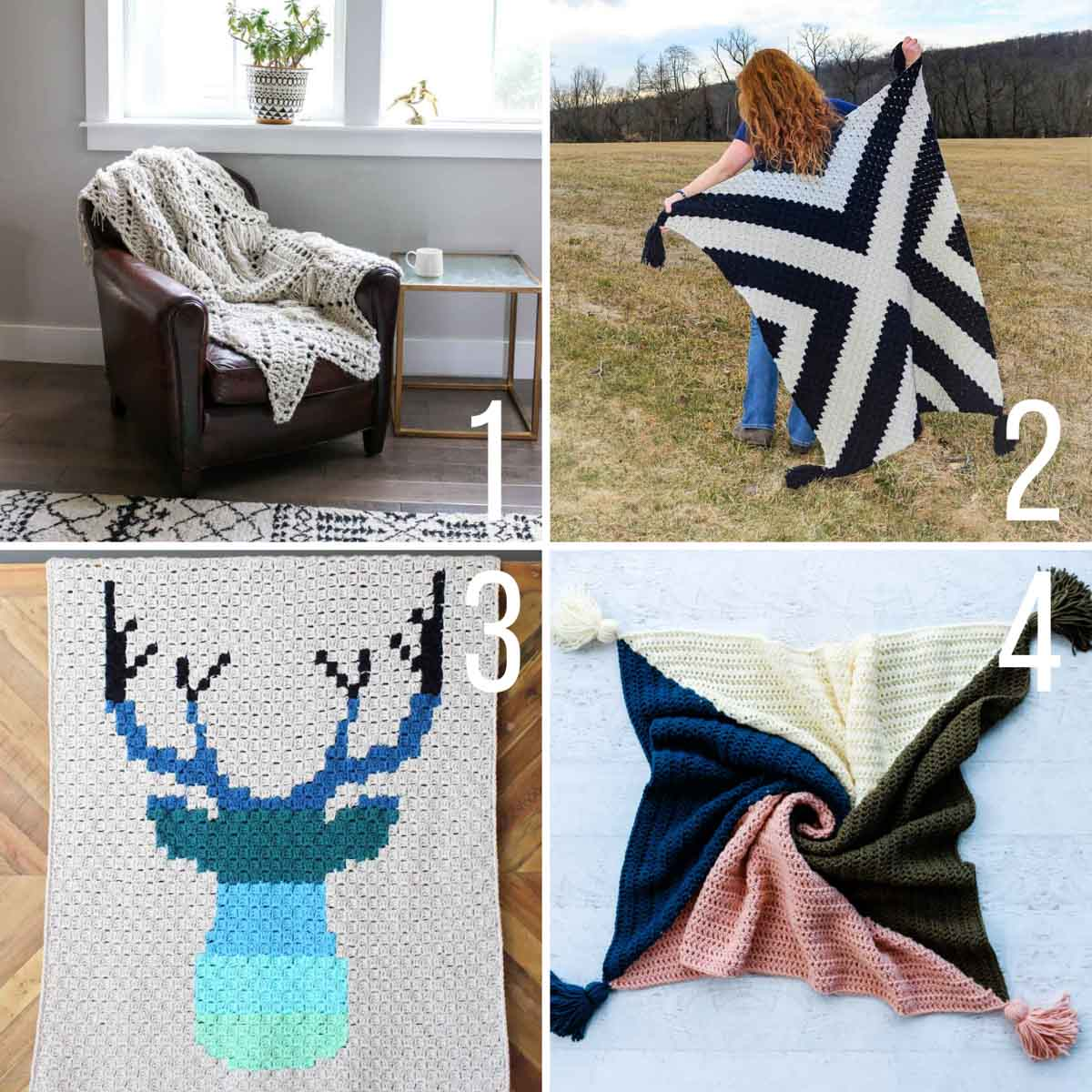 Grid of four free crochet patterns for easy blankets.