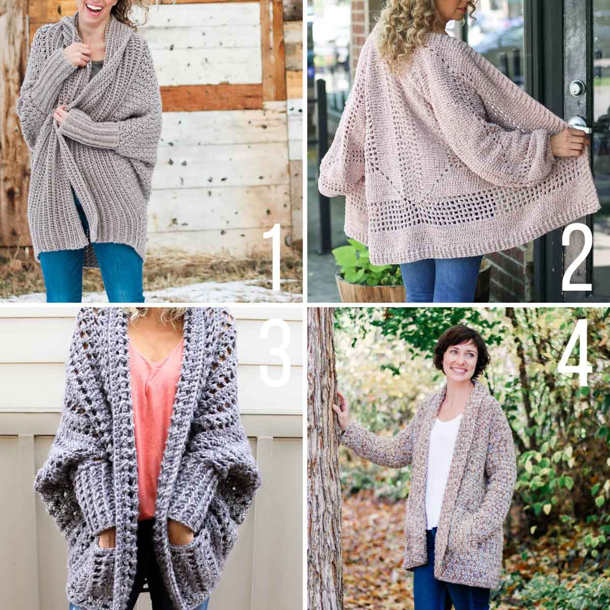 Grid of four free crochet sweater patterns that are perfect for beginners.