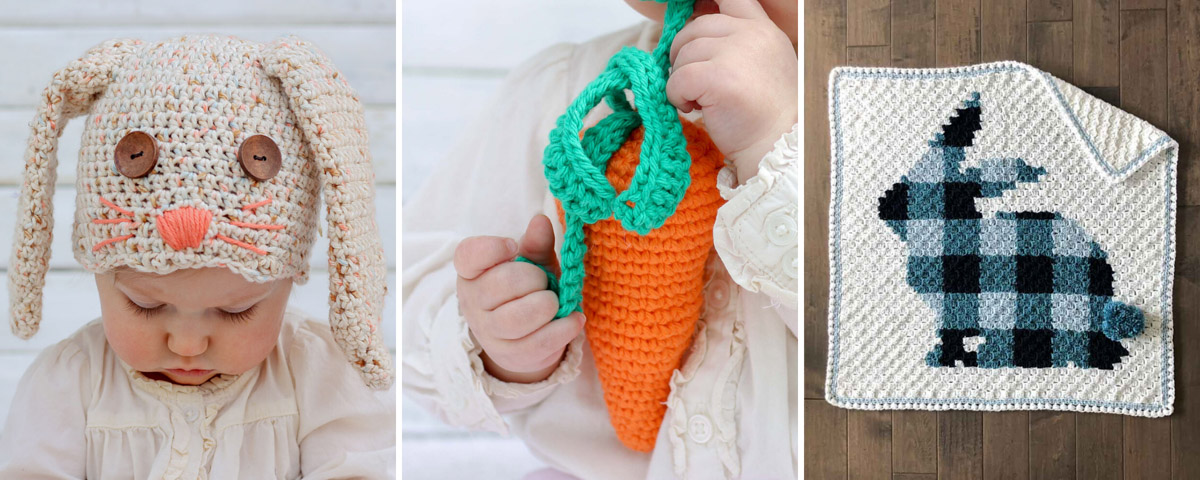 Three free crochet Easter patterns including a bunny rabbit baby hat, a carrot baby rattle and a bunny corner to corner crochet blanket.
