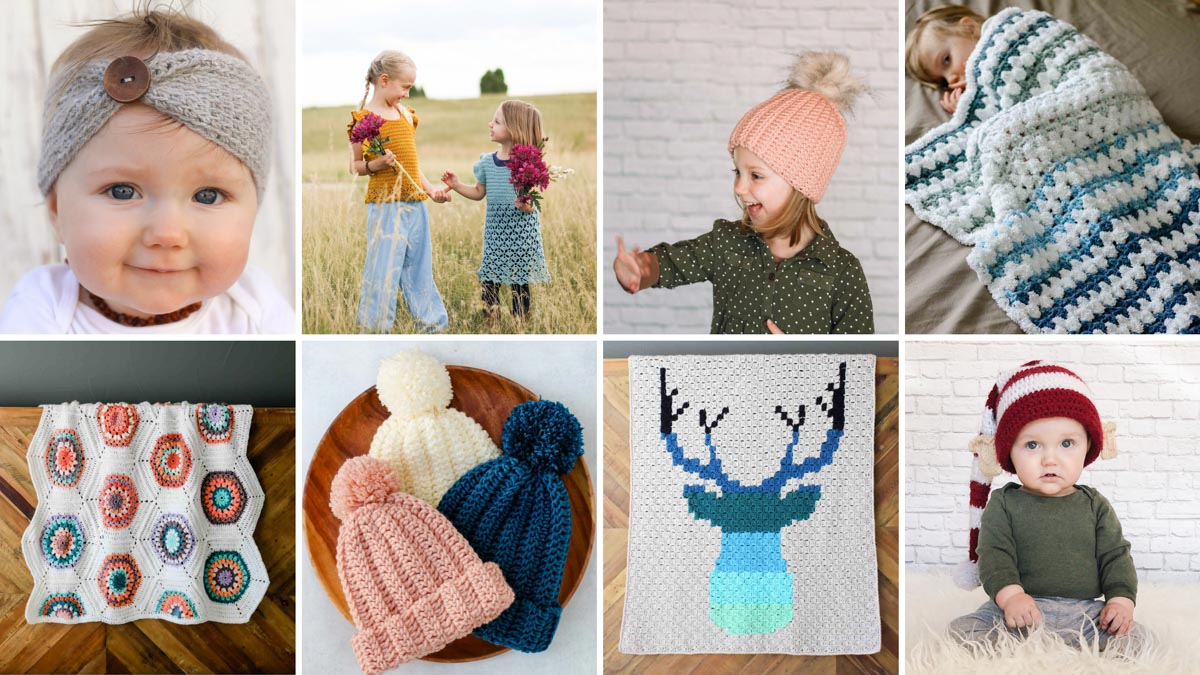 A grid of eight free crochet patterns for babies and children, including blankets, afghans, hats, beanies, dresses and sweaters.