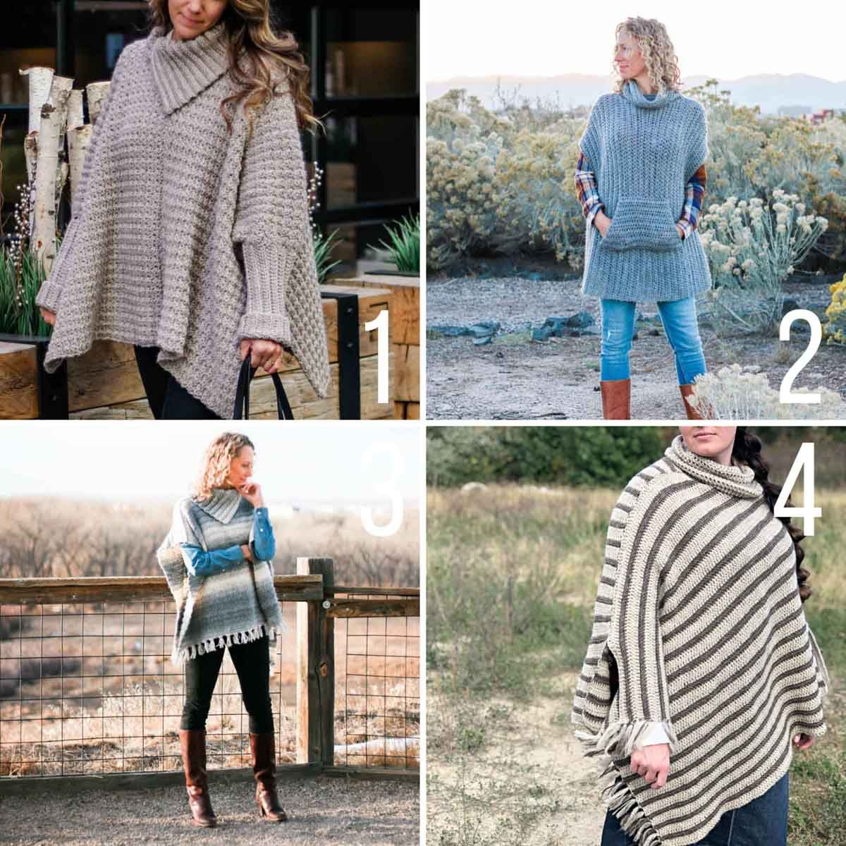 Grid of four women modeling crochet ponchos.