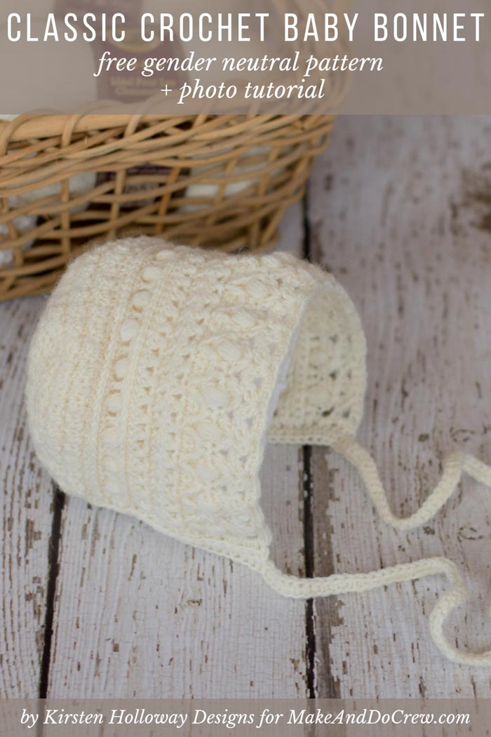 The Modern Classic baby bonnet pattern is a vintage-inspired, timeless crochet piece that adds class and style to any baby's wardrobe. Free pattern and photo tutorial featuring Lion Brand Sock Ease yarn.