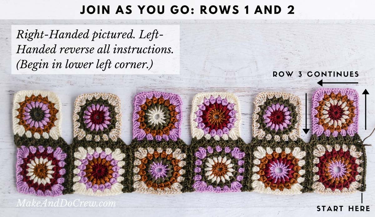 Tutorial showing how to seamlessly join crochet granny square motifs as you go.