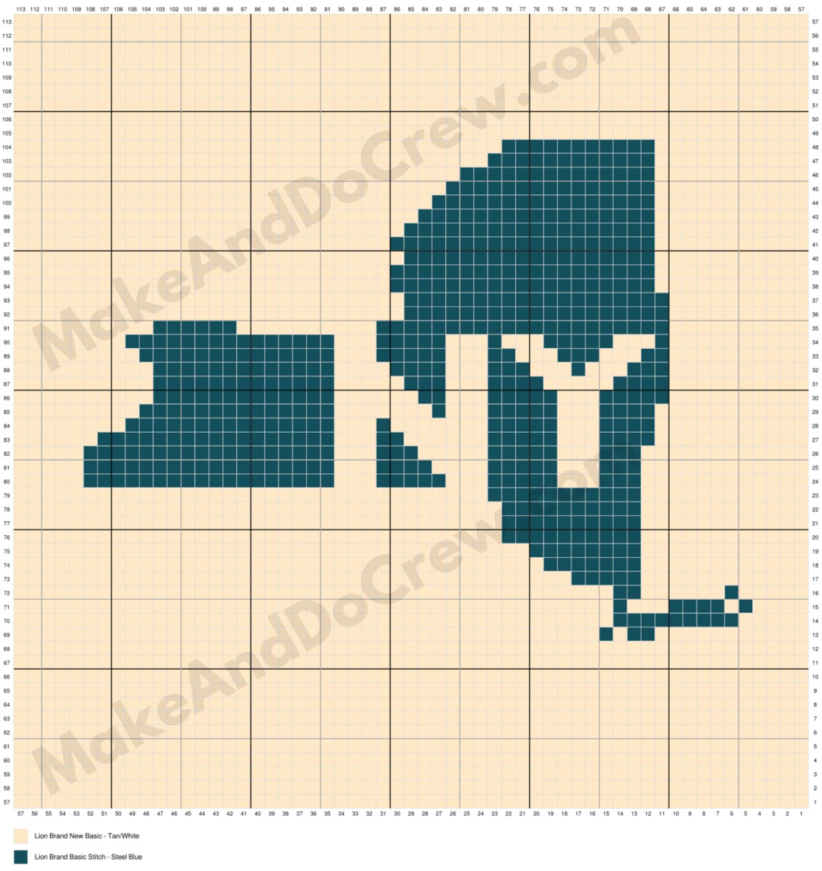 A corner to corner crochet chart showing the state of New York to be worked into a crochet afghan.