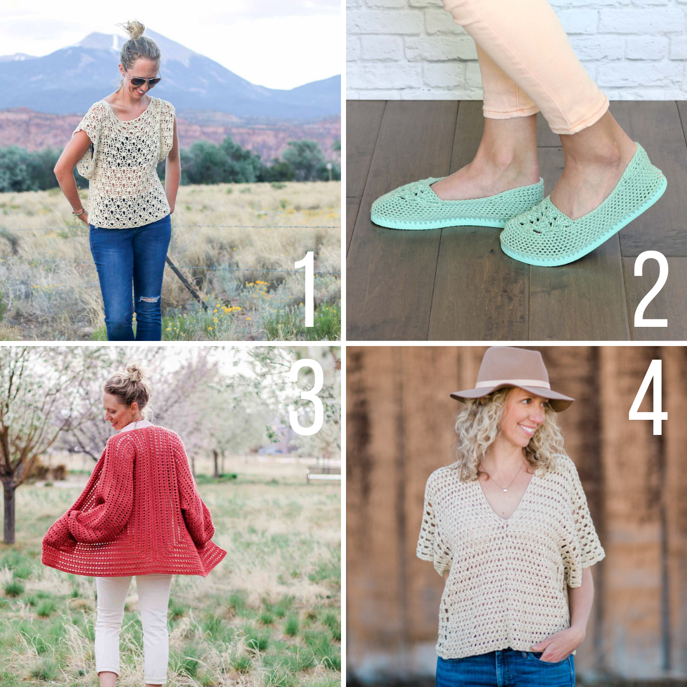 Free crochet patterns for summer including a poncho top, easy crochet cardigan and crochet shoes with flip flop soles.