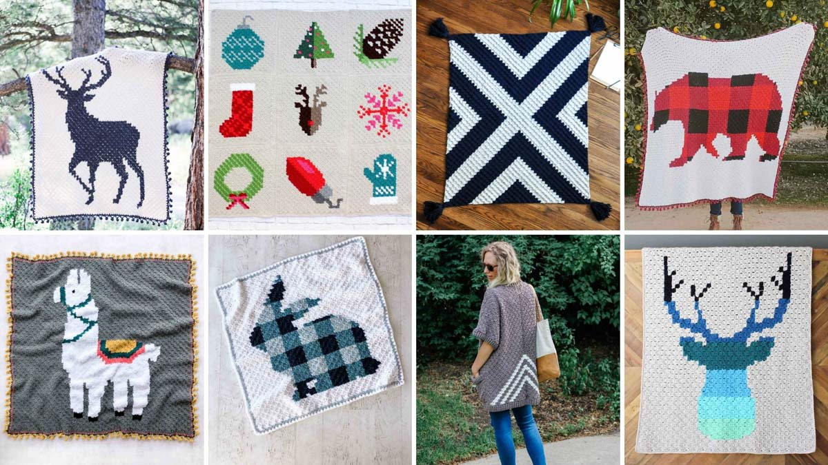 A grid of eight free corner to corner crochet blanket patterns from Make & Do Crew